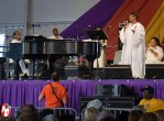 If you need a break from rock, jazz, blues, reggae, etc. then head over to the Gospel Tent, sit down, and fill your soul with heavenly sounds. Pictured here is Irma Thomas during her set in the Gospel Tent at the 2011 Jazzfest. - Photo by Captain Brian Epstein