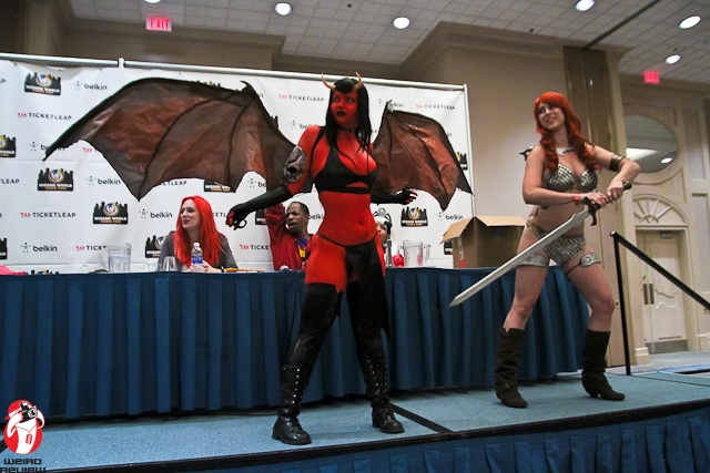 Rose Noir and Jennifer Kateri on the stage at the Chicago Wizard World Comic Con