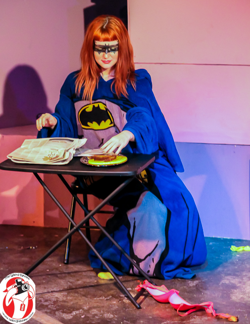 "Xena Zeit-Geist as Batman in her Bat-Jammies at the opening of ""Arkham ASS-YLUM!"""