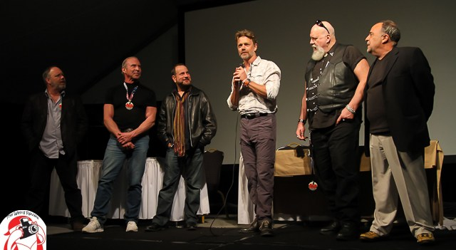 """The horror icons of """"Smothered"""" at Q & A following the Sneak Peek at the Mad Monster Party"""
