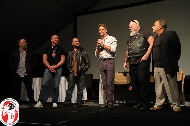 "The horror icons of ""Smothered"" at Q & A following the Sneak Peek at the Mad Monster Party"