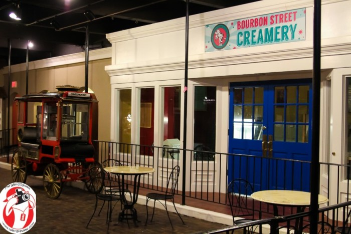 Get ice cream at the Bourbon Street Creamery or some pocorn on the street!