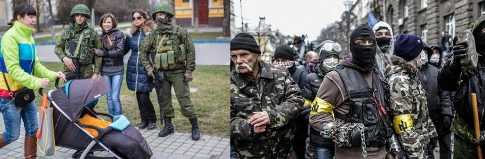 Left: Russian troops in Crimea Right: Right wing activists of the Ukraine