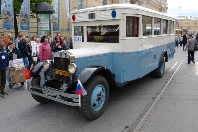 City bus Zis-8 (1934-1936). Restored using the frame found in someone's backyard