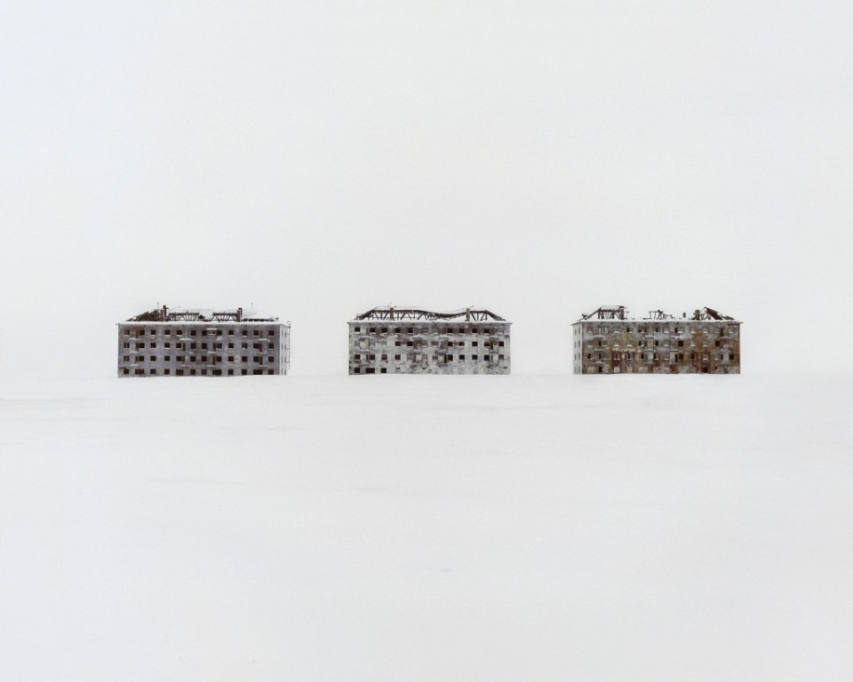 Three former residential buildings in an abandoned polar scientific town, which specialised in biological research.