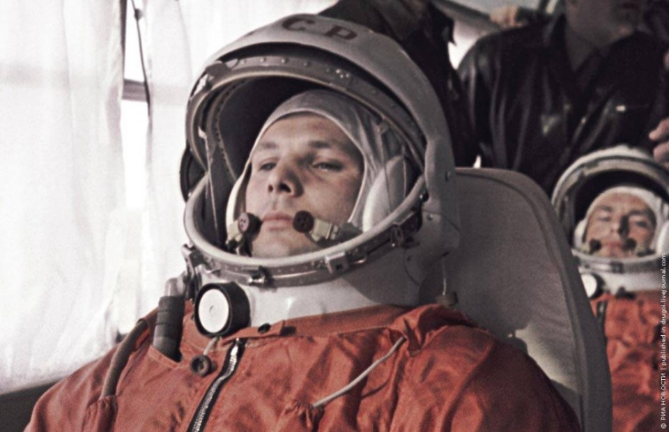 Yuri Gagarin (foreground) and his backup, German Titov, on their way to the Baikonur Space Center. 4/12/1961