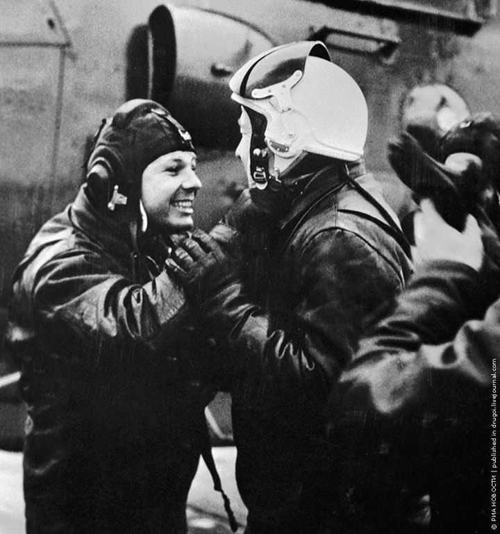 Yuri Gagarin and Alexei Leonov after training flight in a helicopter, 01.04.1966