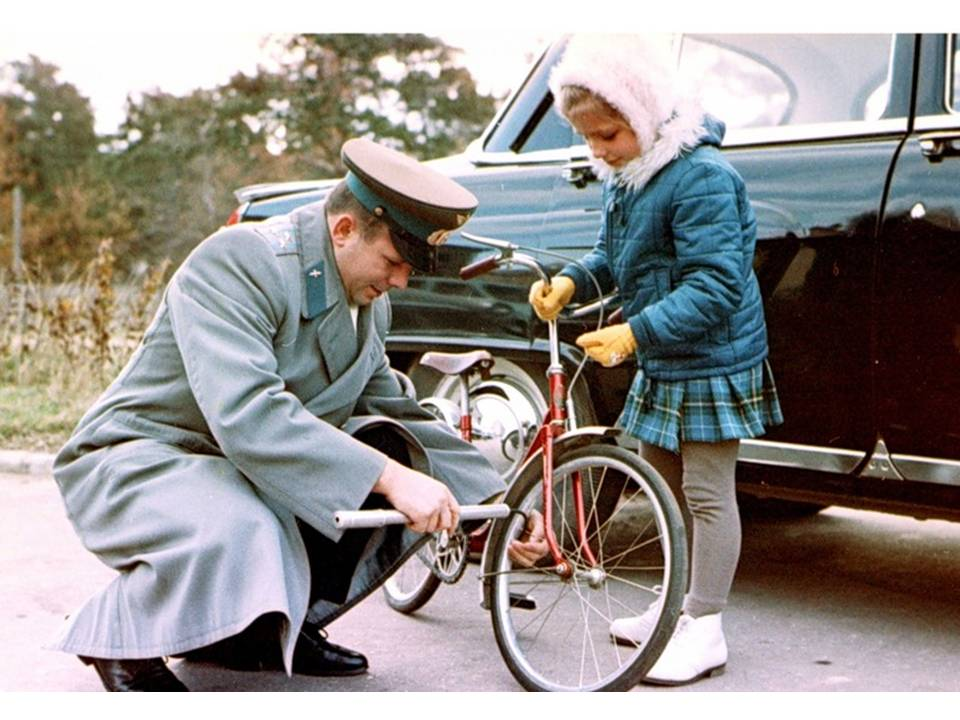 Gagarin with his daughter