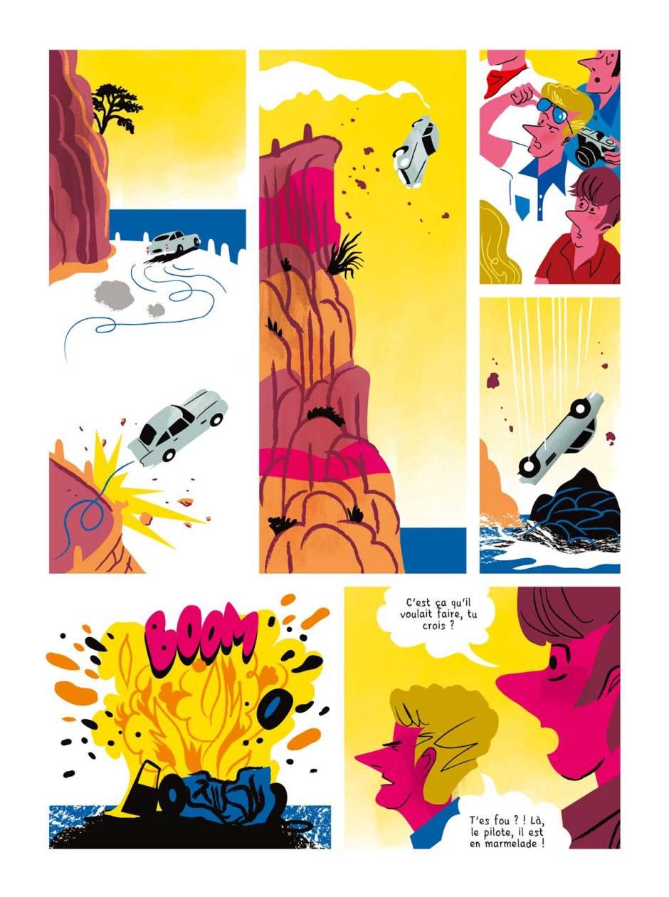 Planche de l'été diabolik dessins d'Alxandre Clerisse, scénario Thierry Smolderen