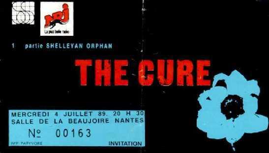 Ticket Cure La Beaujoire nantes juillet 1989