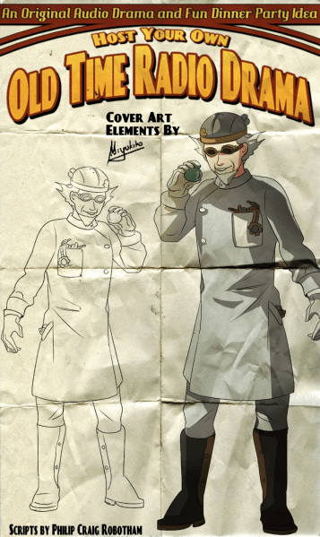 Sketches and art elements by Miyukiko of Mia Farrington for our Host Your Own Old Time Radio Drama.