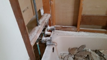Tub with wall removed