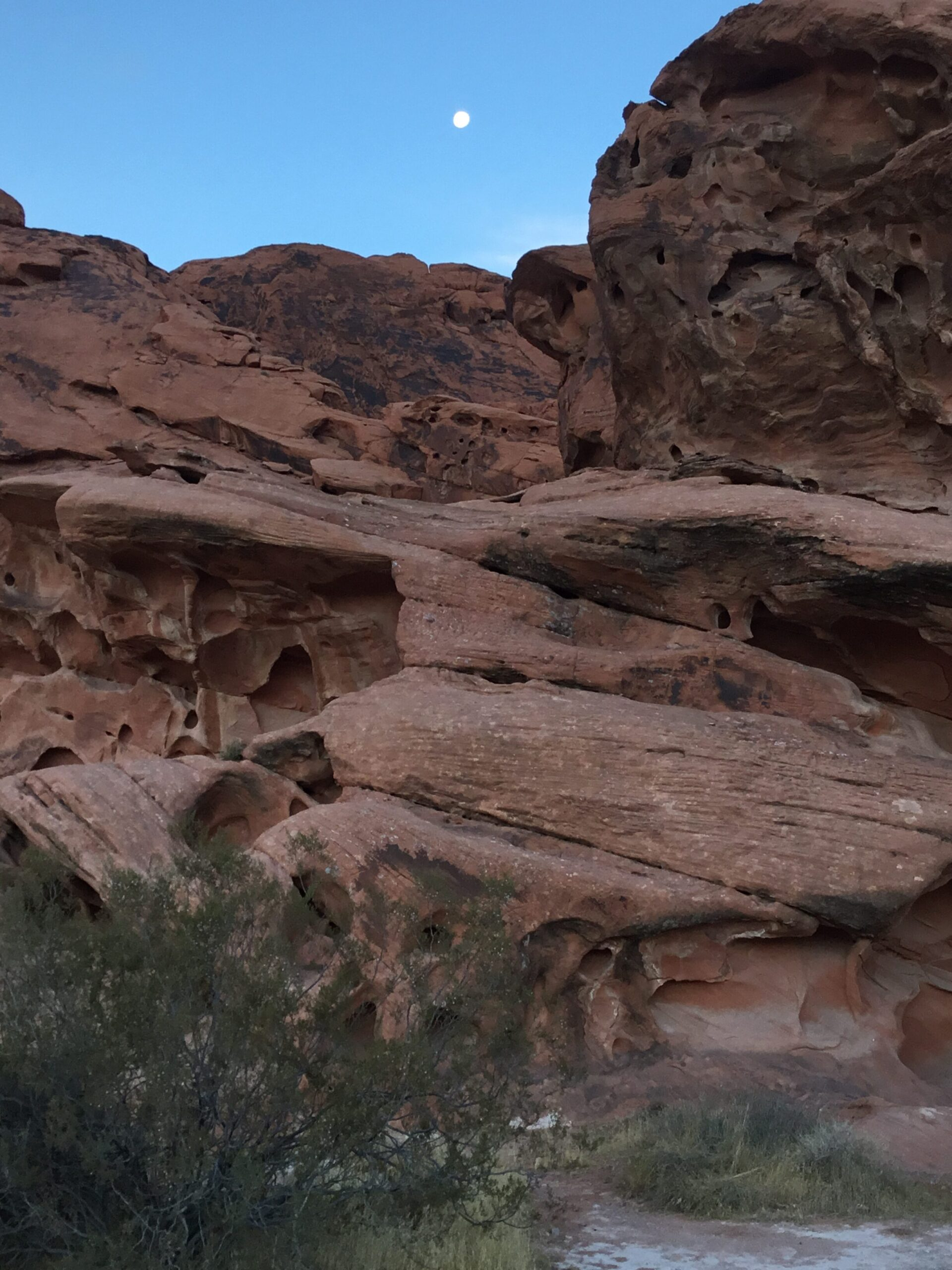 Morning at Valley of Fire with the moon still high in the sky