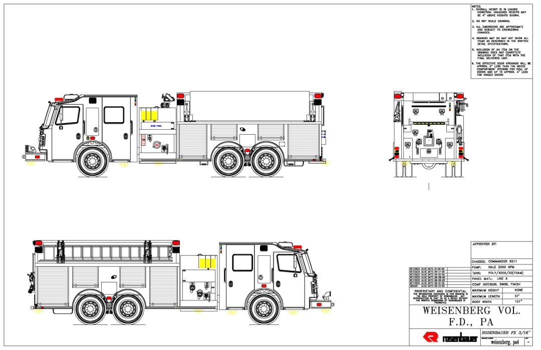 The image is a CAD drawing of a new fire apparatus designed by Rosenbauer Group of America.