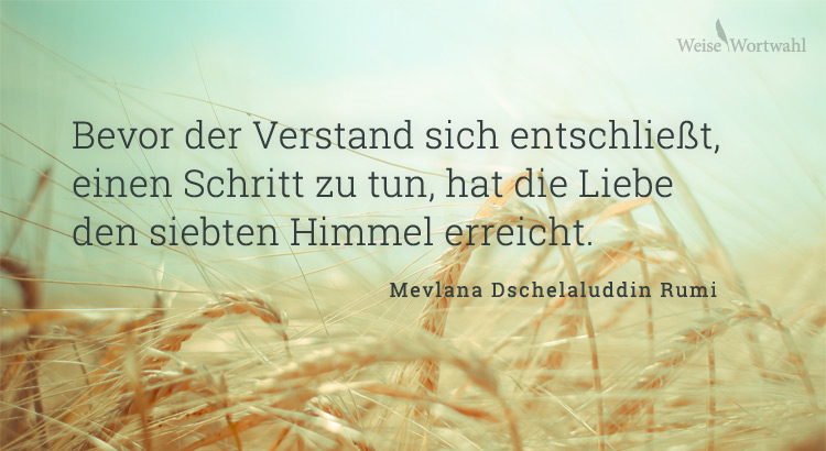 Bevor der Verstand sich entschließt, einen Schritt zu tun, hat die Liebe den siebenten Himmel erreicht. - Mevlana Dschelaluddin Rumi