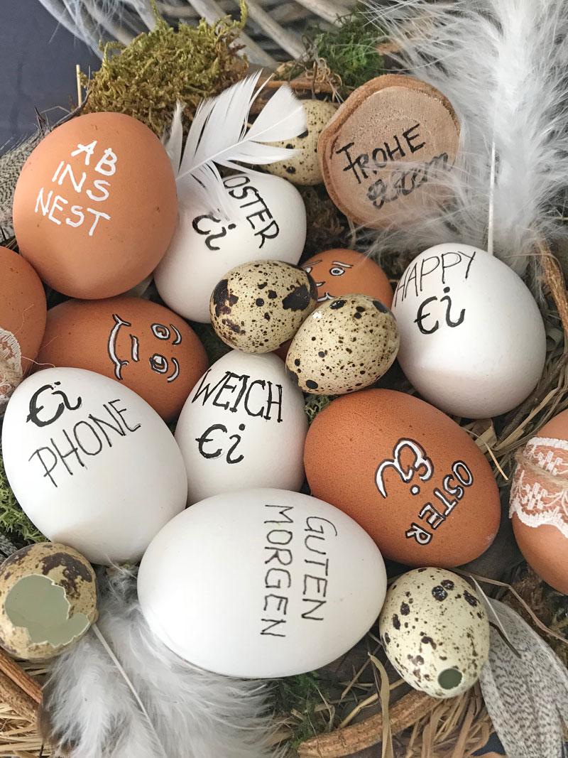 Ostereier schmücken statt färben? – weiss & schwarz