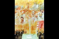Der heilige Stefan als Quasi Schutzpatron und Bewacher der neuen Verfassung und über den Abgeordneten stehende Persönlichkeit.