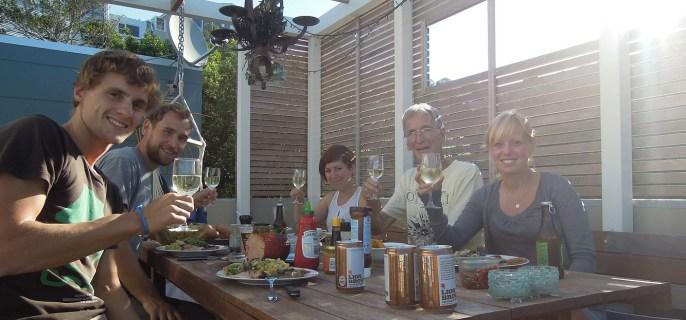 """Mit uns feierte Dave, bei dem Maurice und Nadine in Gisborne schon """"house-sitten"""" waren"""