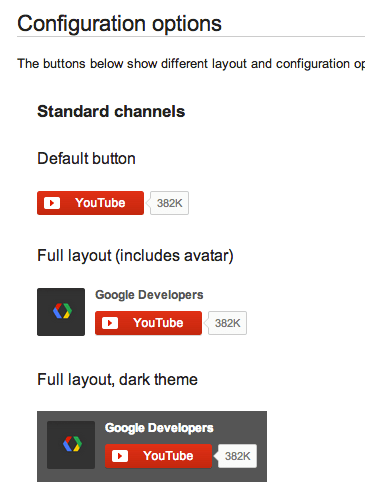 Youtube subscribe config