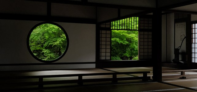 Zen temple with two windows. Genko-an Temple.