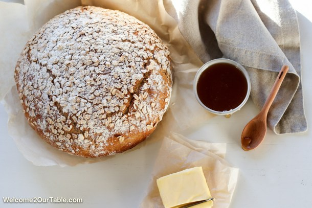 Dutch Oven Whole Wheat Honey-Oat Bread from Welcome2OurTable.com