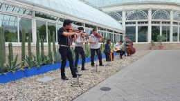 Artists in Residency, The Villalobos Brothers will be performing at the garden several times during the course of the exhibition.