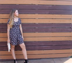 90s romper + woven clutch from Tandem Vintage. Shoes + choker from Free People.