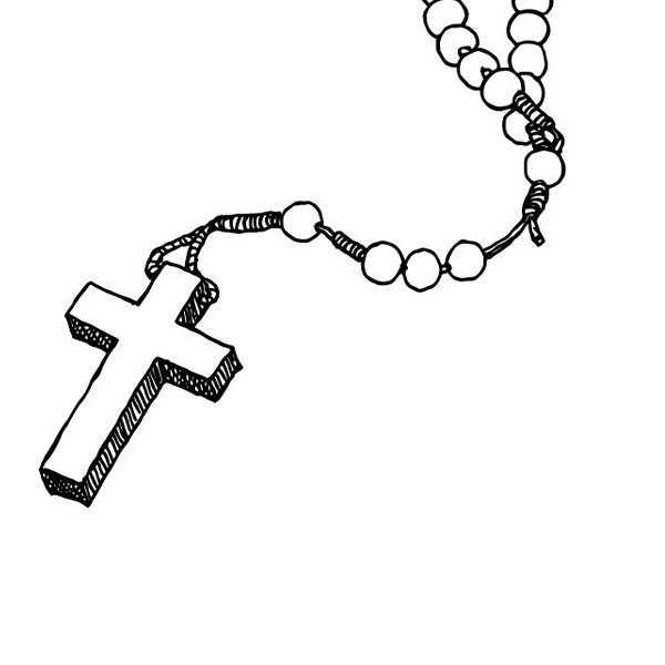 The cross of the Rosary for saying ending prayers.