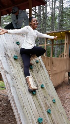 Ash on rock climb - single