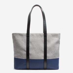 Everlane dipped zip tote. It's gray with a blue bottom and leather handles.