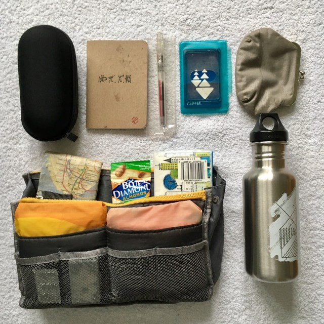All the things I carry in my handbag, including a handbag organizer, sunglasses case, water bottle, notebook, Muji pens, transit card, coin purse and more.