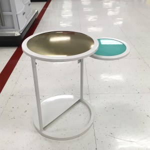 Oh Joy! swivel accent table at Target. There's a little circular piece that swivels out from the main top of the table.