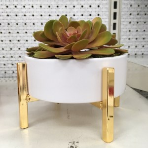 Target faux fake succulent plant arrangement. Its in a white pot, which is on a gold stand.