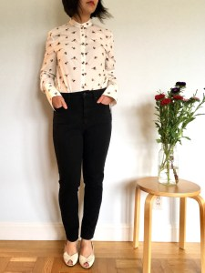 Victoria Beckham bee print button down, as modeled on me with high-waisted jeans and cream-colored peeptoe heels.