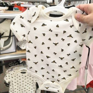 Victoria Beckham for Target onesie with a bee print.