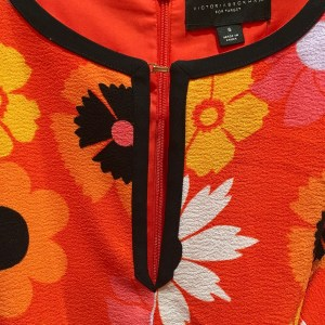 Victoria Beckham for Target review. Detail of retro floral crepe fabric used for romper.