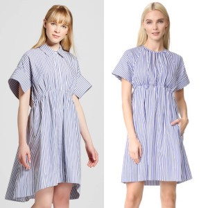 Victoria Beckham x Target stock photo comparison of striped poplin dress from Target to Victoria Victoria Beckham striped empire waist dress. They are both blue and white striped and shown on blond models.
