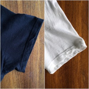 Comparison of the sleeves of the Everlane V-neck tee in black and in white.