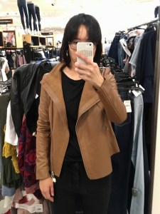 Trouve raw edge leather jacket in brown, as modeled open on me. Selfie in a full-length mirror.