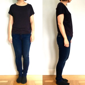 Uniqlo crewneck drape tee as modeled on me. View from the front and the side.