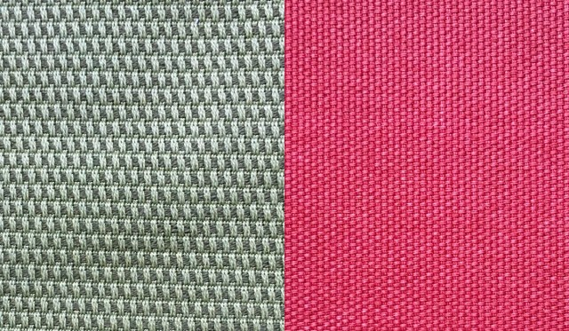 IKEA slipcover fabric swatches. Original cover in green with big weave to the left, and the new cover in red to the right.