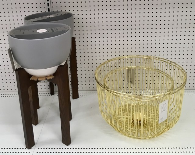 Gray planter on wooden stand, gold wire baskets