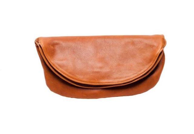 Half moon shaped leather bag.