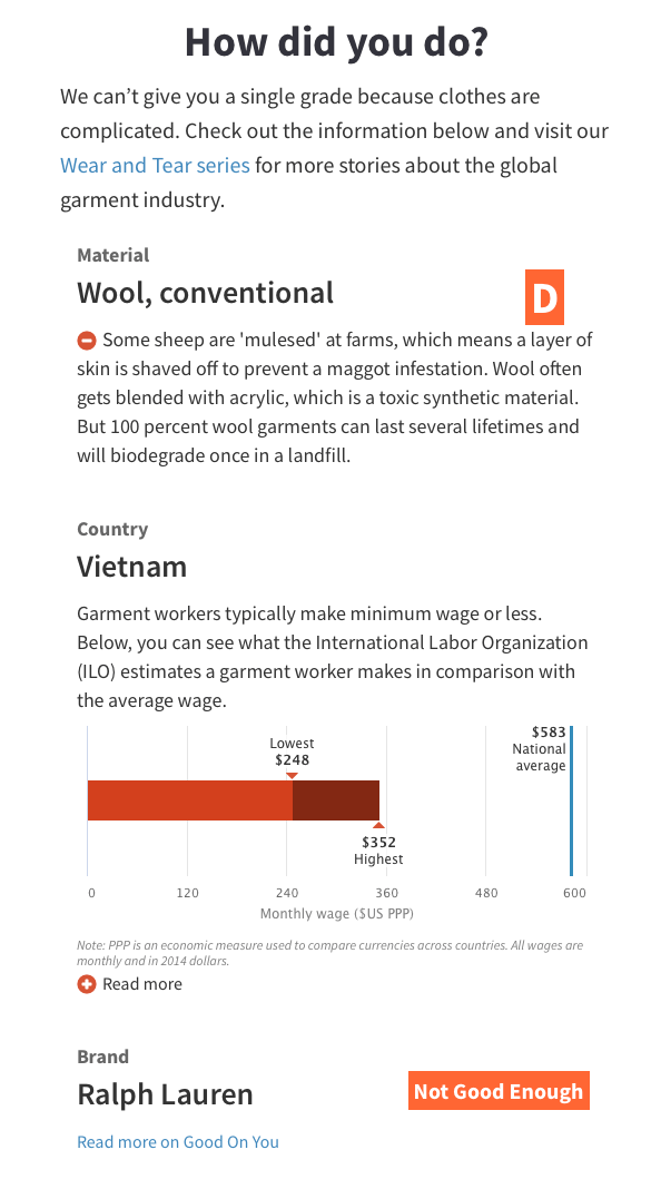 "Screenshot of a ""how ethical are your clothes"" quiz showing that wool scores a D and wages are below minimum wage in Vietnam."