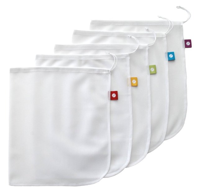 A set of 5 mesh bags with different colored tabs and drawstring closure.