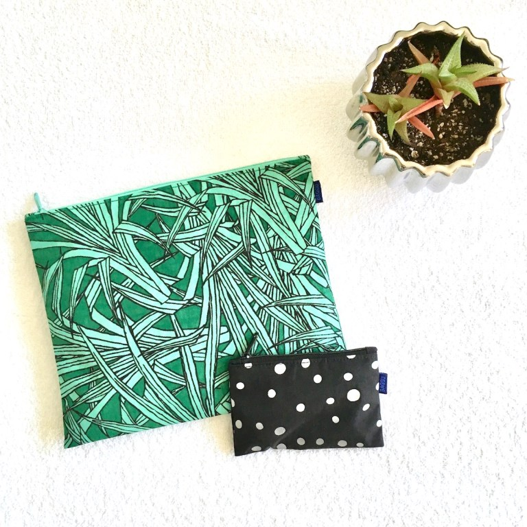 "Two BAGGU nylon pouches in large and small size, along with a succulent in a pot, as viewed from above in ""flat lay"" style."