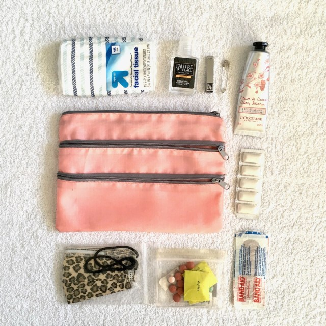 A pouch with three zippered comparments, and the contents of what's kept in the pouch laid out around it. This includes tissues, hand lotion, gum, band-aids, nail clipper.