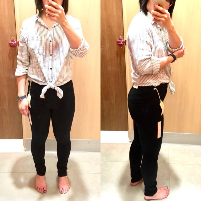Me, a petite Asian woman, trying on jeans and taking selfies. Wearing the black high-rise jeans. Image is split in half, and on one half is the front view and on the other half is the side view