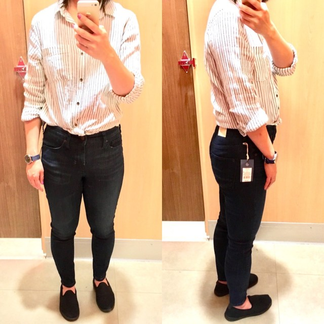 Me in the fitting room trying on jeggings. Selfie of the front and side.