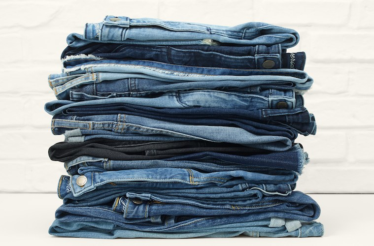 A stack of blue jeans.